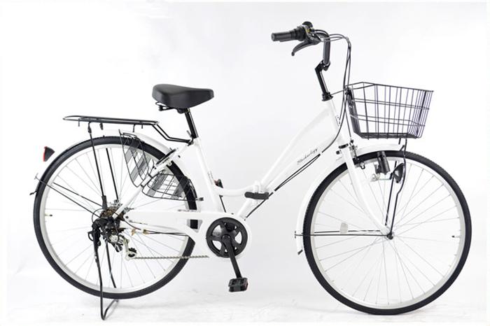 21Technology/21テクノロジー シティサイクル/ママチャリ MC266 26インチ 折りたたみ自転車 パールホワイト(MC266-2018)【代引不可】