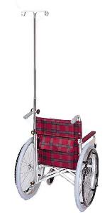 車椅子専用オプション(日進医療器専用)取り外し式ガートル掛けKF-13(点滴掛け)ノブネジ固定タイプ