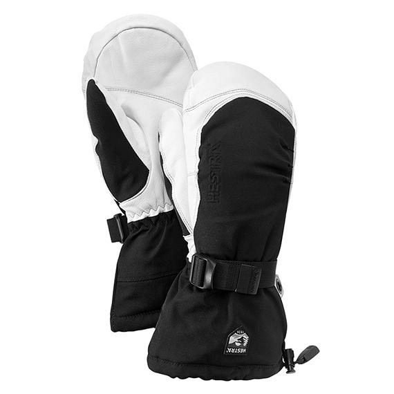 抜群の保温性と耐久性に非常に優れたARMY LEATHERを採用。 長めのカフで雪の侵入を防ぐ HESTRA 35161 EXTREME MITT エクストリーム ミット Black/White