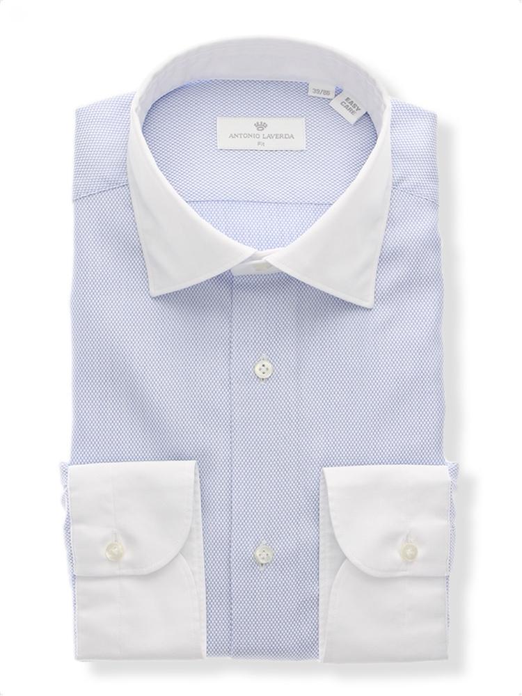 限定モデル 顔まわりを明るく見せてくれるクレリックカラーを採用 ANTONIO LAVERDA Easy Care クレリック ワイドカラードレスシャツ サックスブルー スーツカンパニー ザ 流行のアイテム 織柄
