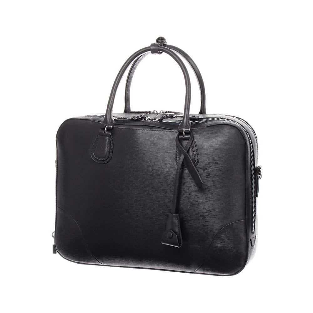 ブリーフケース/ビジネスバッグ/メンズ/型押しレザー 2層式 鍵付きブリーフケース/ ネイビー/ユニバーサルランゲージ
