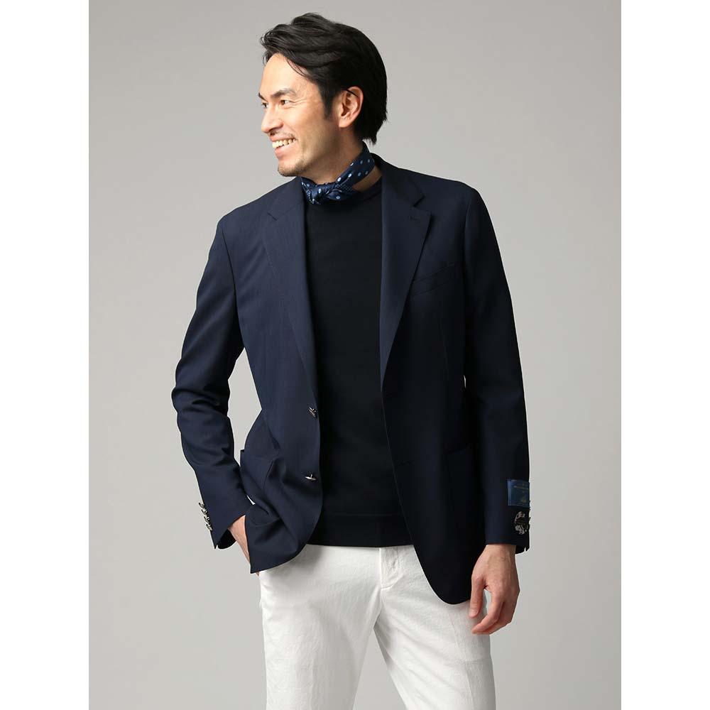 ビジネスジャケット/メンズ/春夏/ハイツイストトロピカルウールジャケット/Fabric by CANONICO/ ネイビー/ユニバーサルランゲージ