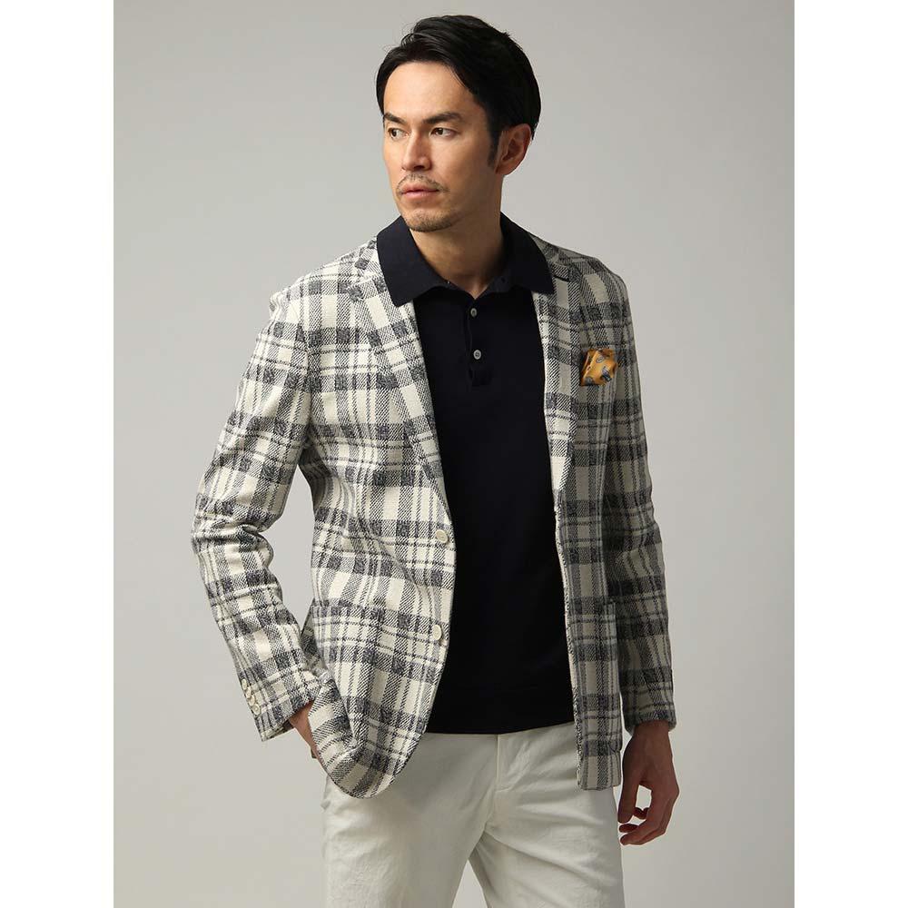 ビジネスジャケット/メンズ/春夏/FABRIC MADE IN JAPAN/コットン チェック柄ジャケット オフホワイト×ネイビー/ユニバーサルランゲージ