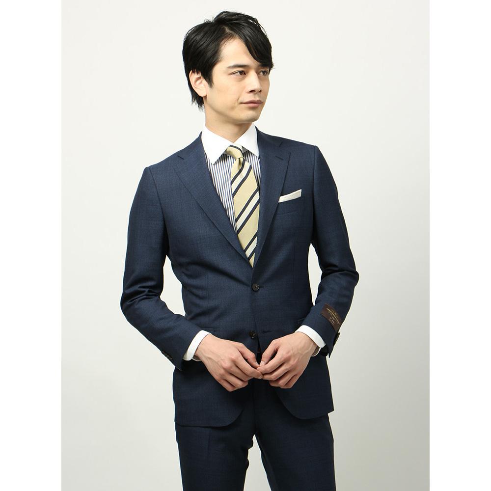 ビジネススーツ/メンズ/春夏/BASIC 3つボタンスーツ マイクロパターン TR-15 ネイビー×サックスブルー/ザ・スーツカンパニー