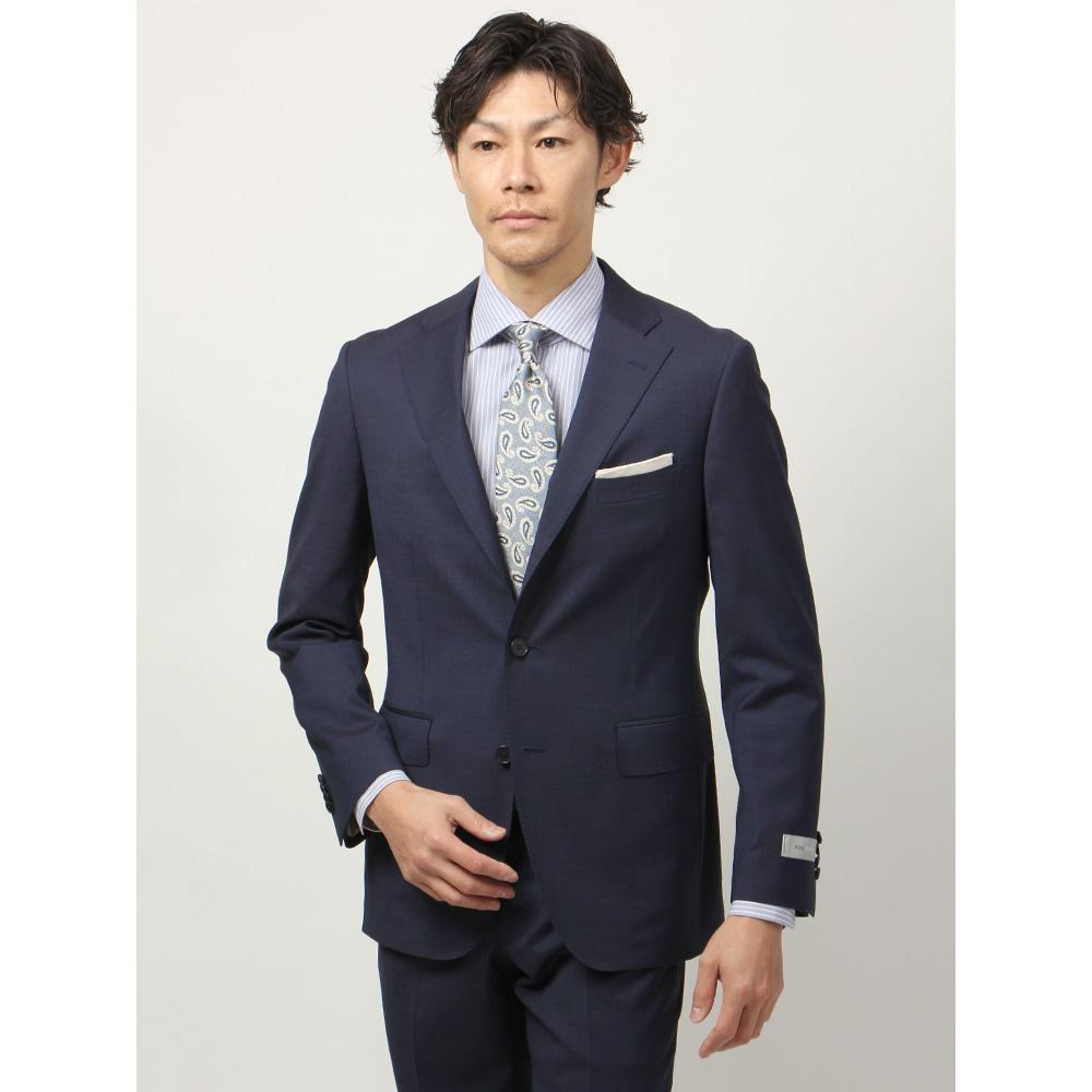 ビジネスジャケット/メンズ/春夏/blazer's bank.com/ピンヘッド柄ジャケット/Fabric by REDA/ ネイビー×ブルー/ザ・スーツカンパニー