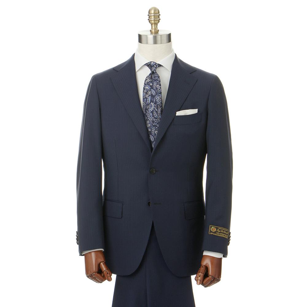 ビジネススーツ/メンズ/春夏/HAND MADE/3つボタンスーツ ピンストライプ TR-16 ブルー×サックスブルー/ユニバーサルランゲージ