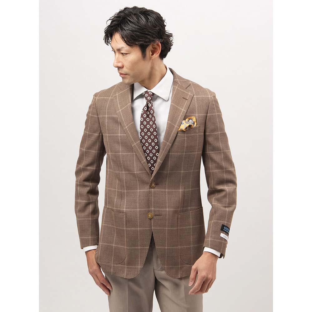 ビジネスジャケット/メンズ/春夏/ウォッシャブル・COOL MAX/WE SUIT YOU/ウールブレンド メッシュジャケット ブラウン×ベージュ/ザ・スーツカンパニー
