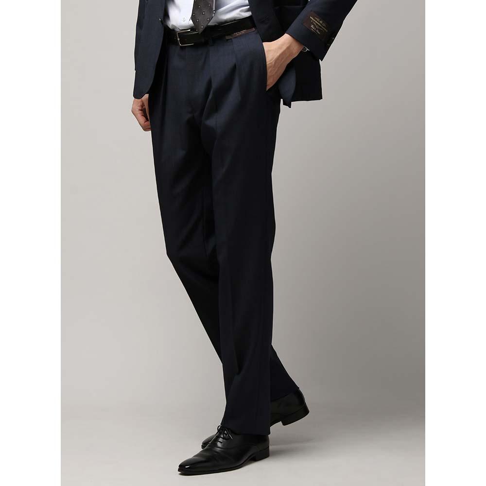 ビジネスパンツ/メンズ/春夏/ライトウールモヘアタックテーパードパンツ/Fabric by CANONICO/ ネイビー/ユニバーサルランゲージ