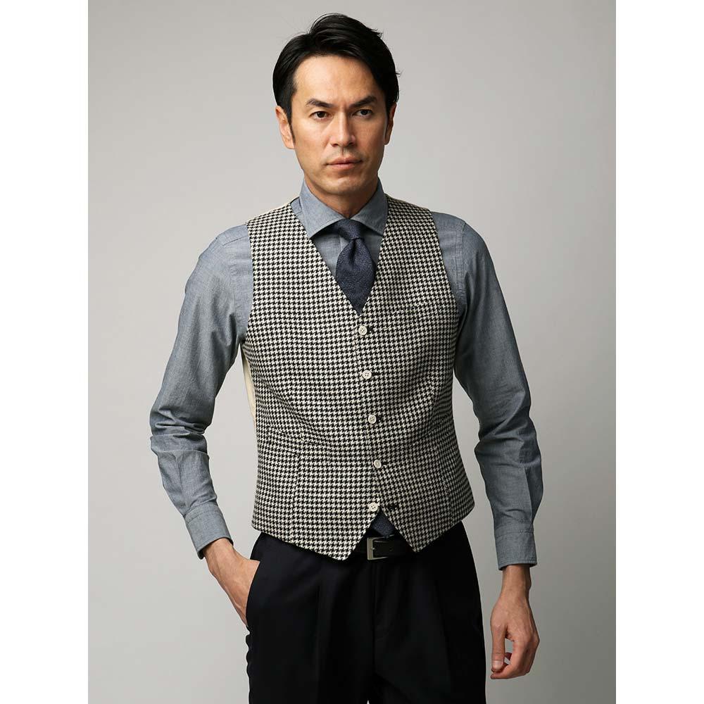 セットアップスーツ/ジレ/メンズ/ETONNE/リネンコットンファンシーツイードジレ/Fabric by LEOMASTER/ ブラック×オフホワイト/ユニバーサルランゲージ