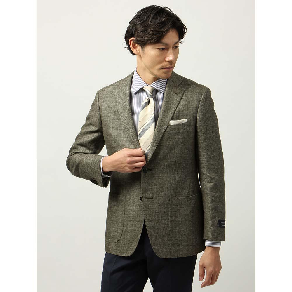 【特別価格】ビジネスジャケット/メンズ/春夏/blazer's bank.com/ウールリネン 織柄ジャケット/Fabric by REDA/ カーキ/ザ・スーツカンパニー