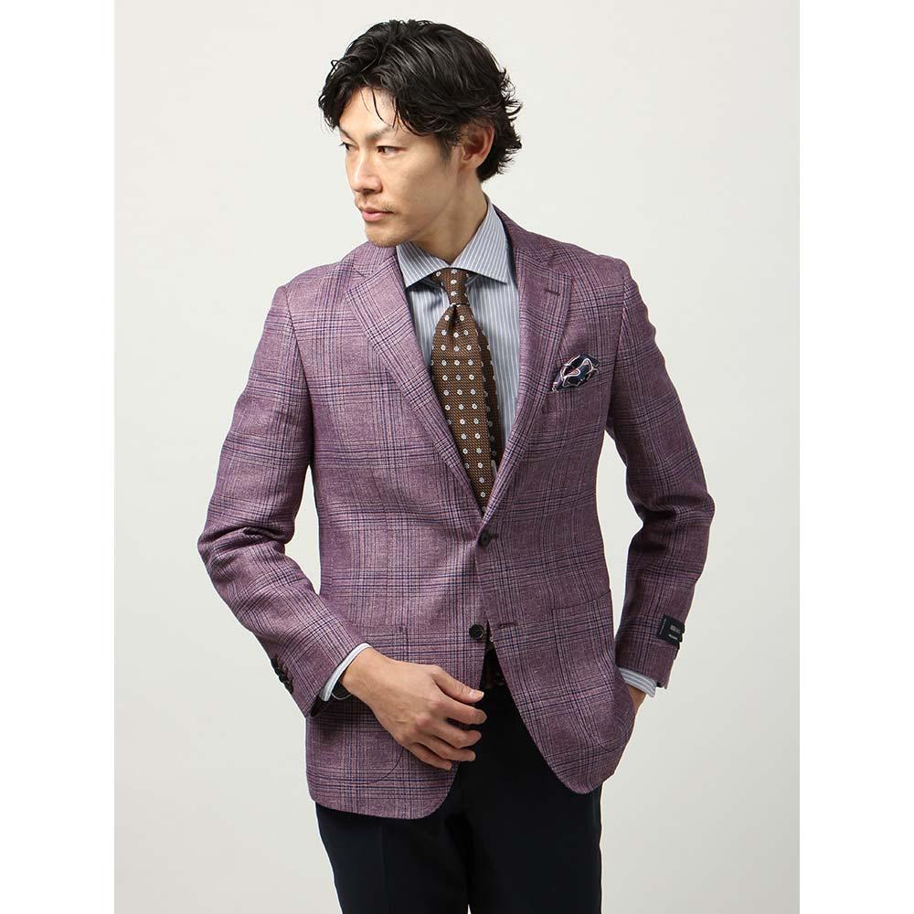 【特別価格】ビジネスジャケット/メンズ/春夏/blazer's bank.com/ウールリネンジャケット/Fabric by REDA/ パープル×サックスブルー/ザ・スーツカンパニー