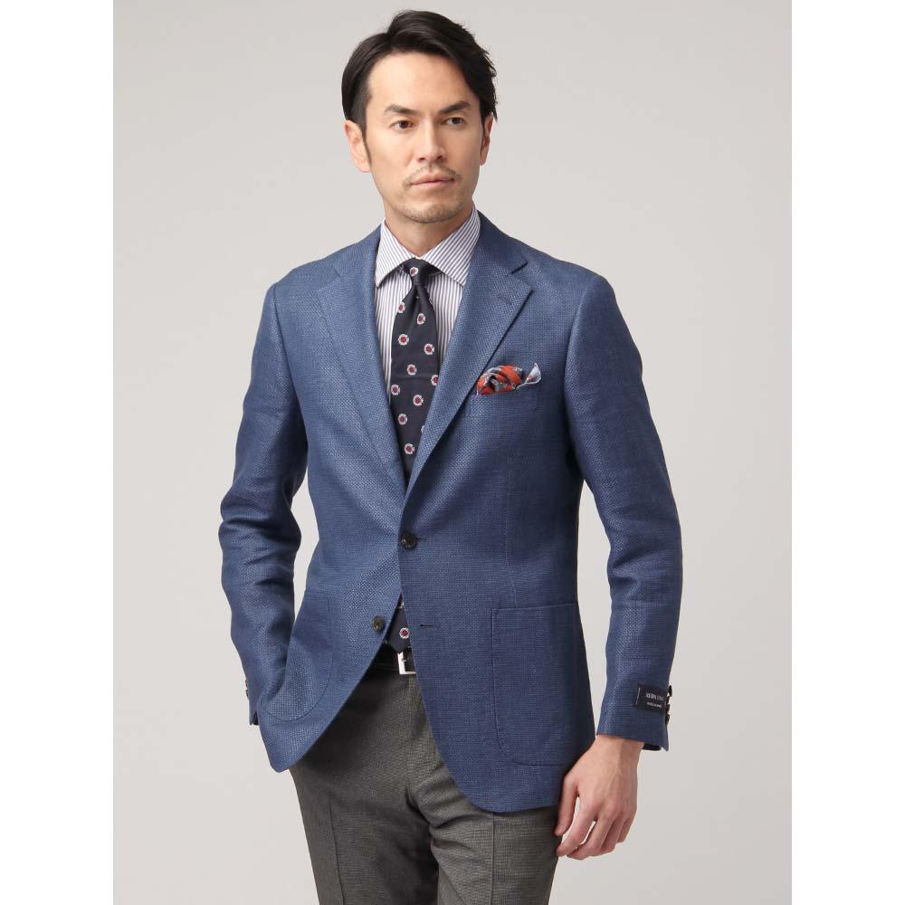 ビジネスジャケット/メンズ/春夏/SUPER110'sウールリネンホップサックジャケット/Fabric by REDA/ ブルー/ユニバーサルランゲージ