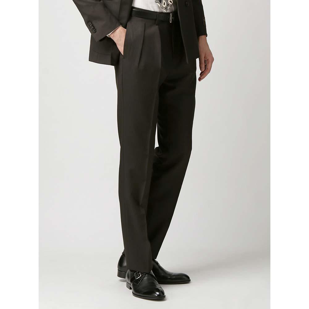 ビジネスパンツ/メンズ/春夏/ライトウールモヘア タックテーパードパンツ/Fabric by CANONICO/ ダークブラウン/ユニバーサルランゲージ