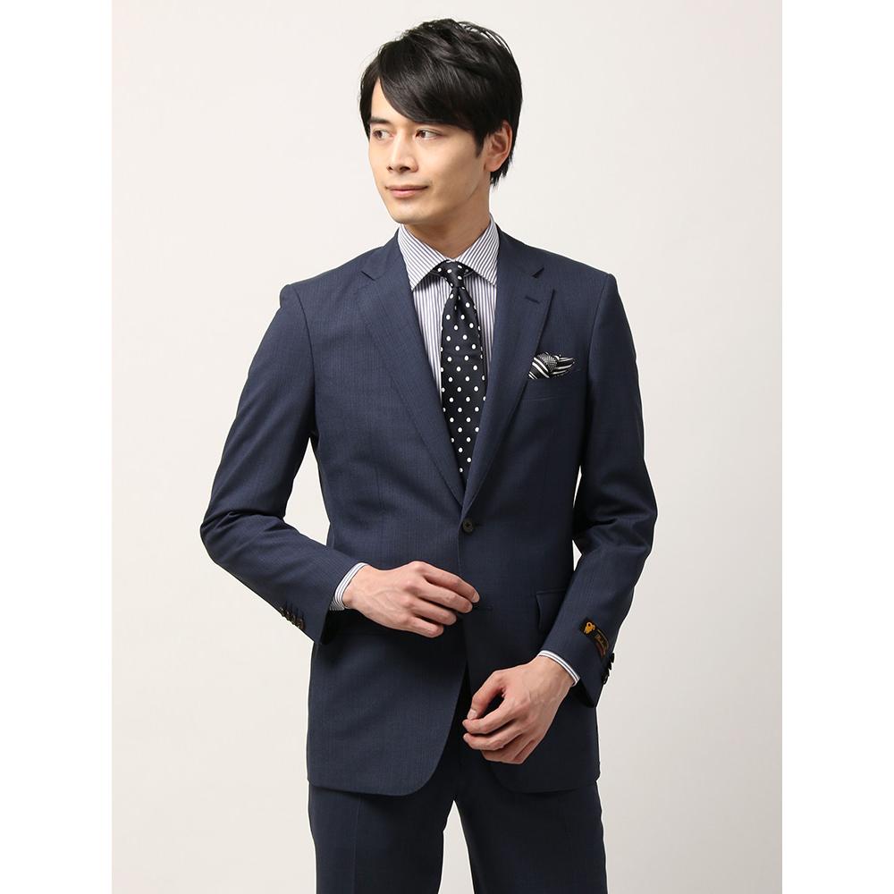 ビジネススーツ/メンズ/春夏/ツーパンツ・撥水/BASIC 2つボタンスーツ ストライプ IZ-01 ブルー×ネイビー/ザ・スーツカンパニー
