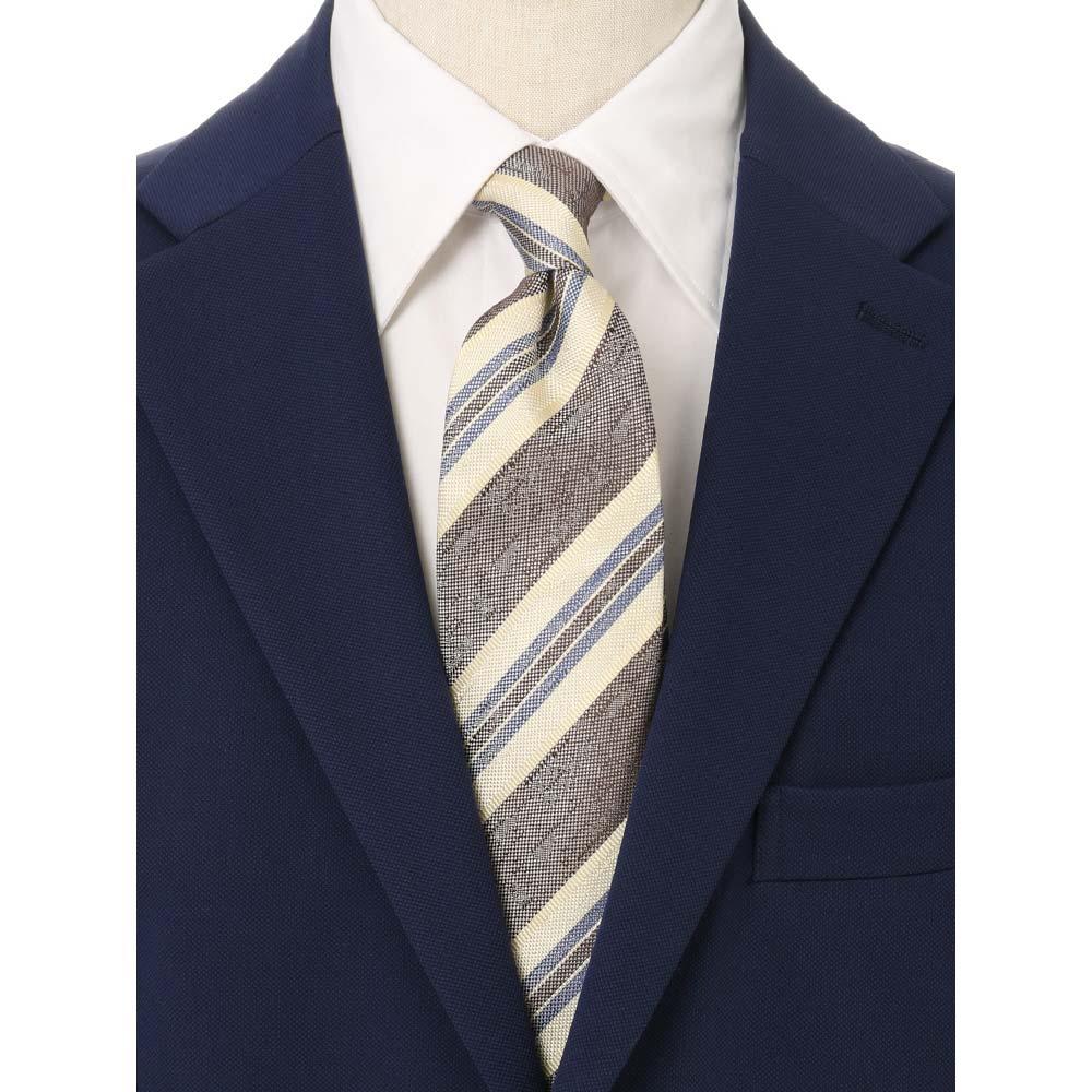 ネクタイ レギュラータイ メンズ blazer's bank com JAPAN MADE レジメンタル×織柄ネクタイ ブラウン系 ザ・スーツカンパニーvmNwO8n0