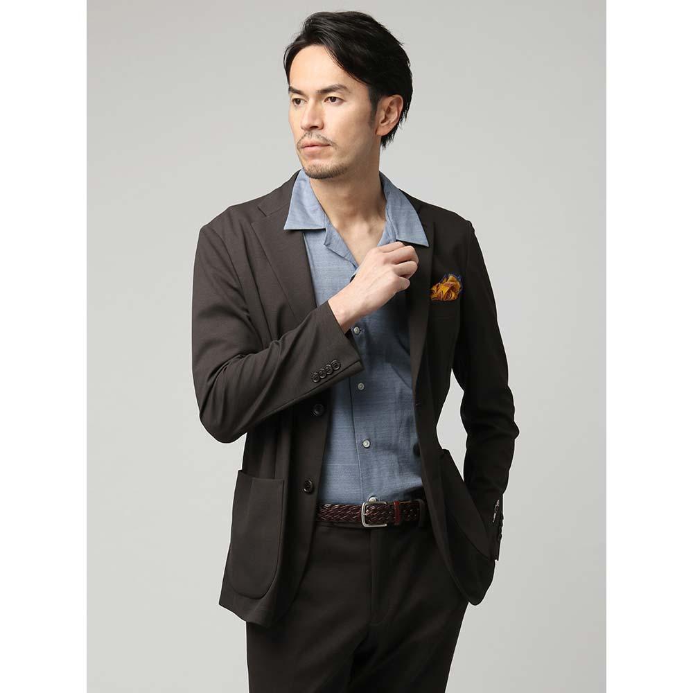 ビジネスジャケット/メンズ/春夏/ウォッシャブル/FABRIC MADE IN JAPAN/モクロディジャージー 織柄ジャケット ブラウン/ユニバーサルランゲージ