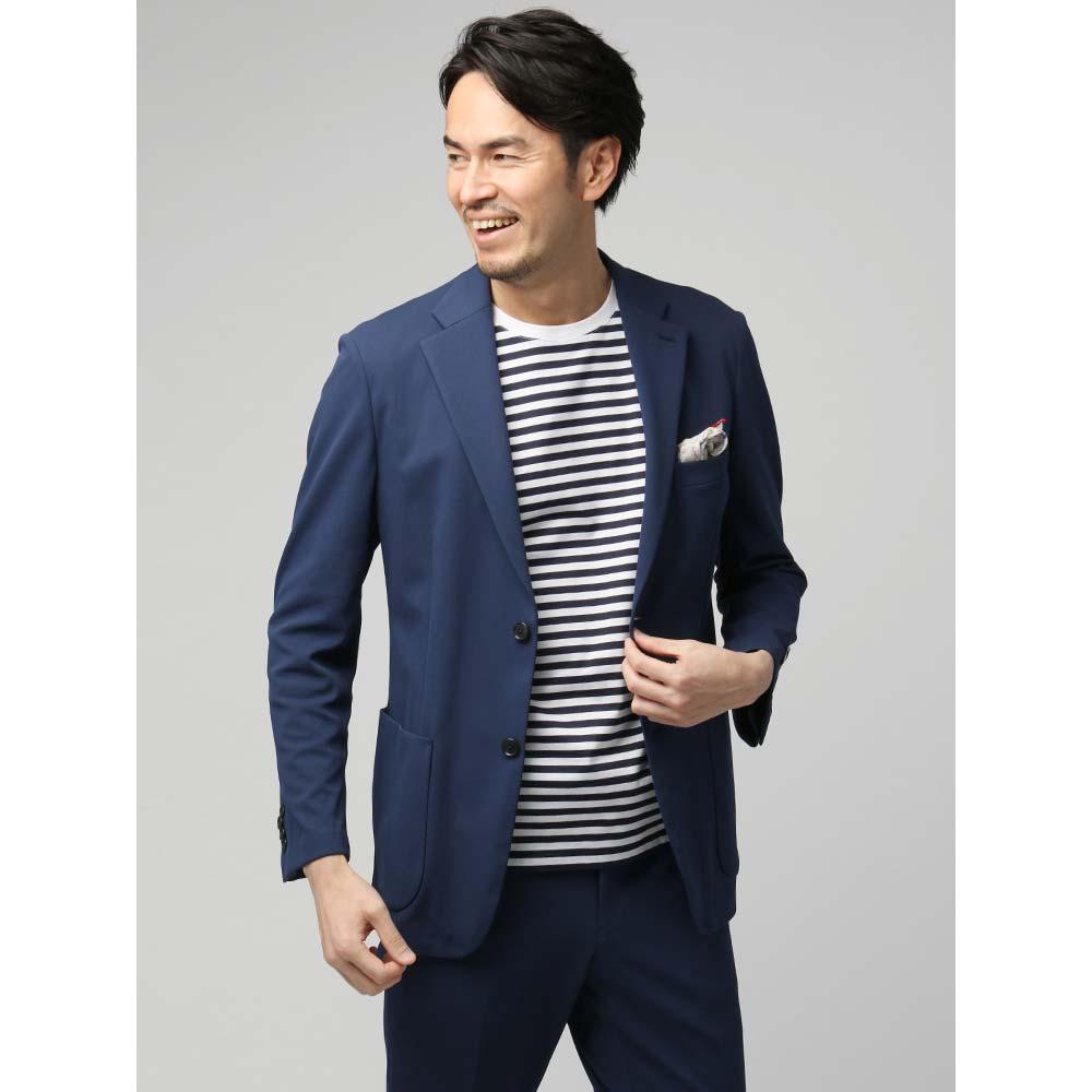 ビジネスジャケット/メンズ/春夏/ウォッシャブル/FABRIC MADE IN JAPAN/モクロディジャージー 織柄ジャケット ネイビー/ユニバーサルランゲージ