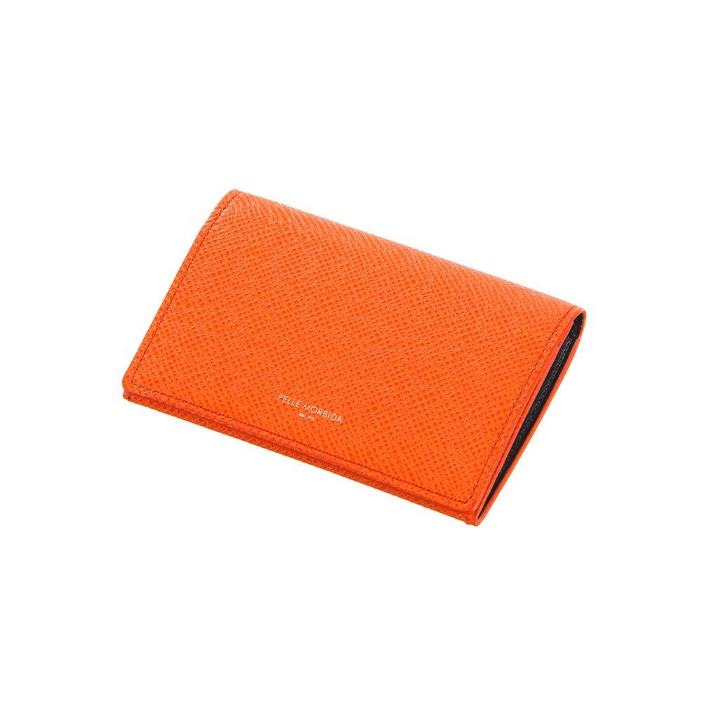 革小物/キーリング/グッズ/メンズ/PELLE MORBIDA/型押しレザー カードケース オレンジ/ユニバーサルランゲージ
