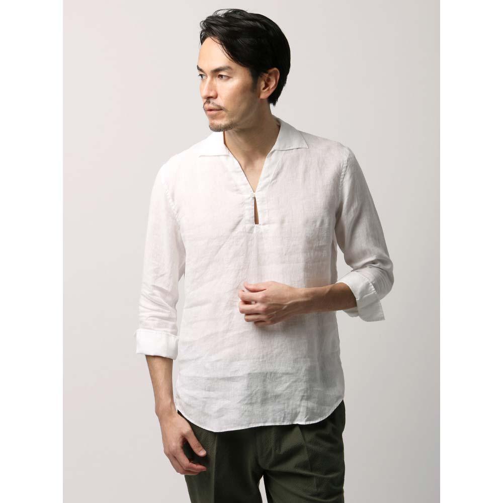 【特別価格】カジュアルシャツ/メンズ/ETONNE/製品洗い ピュアリネン カプリシャツ/Fabric by Albini/ ホワイト/ユニバーサルランゲージ
