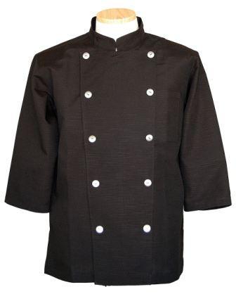 コックコート七分袖 黒Xシルバーボタン(コック服 厨房服 調理着 白衣着ユニフォーム)男女兼用S~LL 全8色 B-202