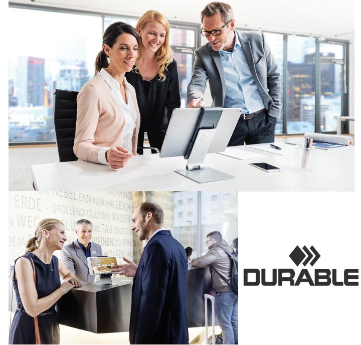 DURABLE タブレットホルダー デュラブル 卓上 ビジネス デスク ドイツ 海外 輸入 オフィス 回転 端末 ipad アクセサリー店舗 デスクワーク 卓上 ロック タブレット タブレット置き 父の日
