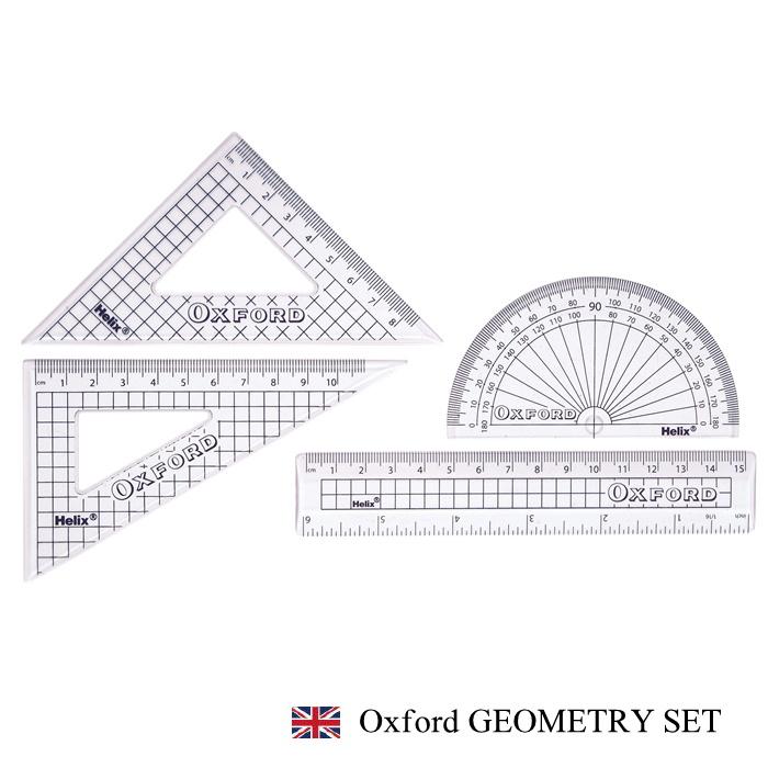 送料0円 日本正規代理店 大人気 オックスフォードシリーズ HELIX Oxford 15cm Geometry 大幅にプライスダウン Set ヘリックス オックスフォード 定規セット 三角定規 分度器 さし おしゃれ 文房具 文具 イギリス プレゼント ヨーロッパ 定規