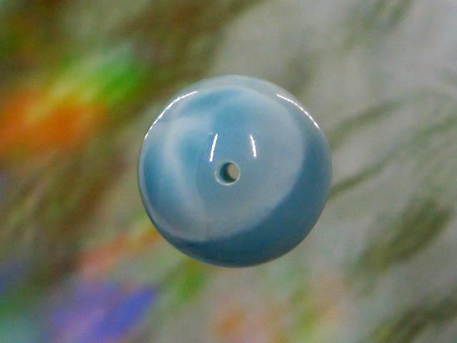 天然石ビーズラリマー 丸玉12mm1点物 No.1234