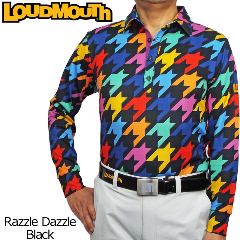 【メール便発送】【日本規格】ラウドマウス メンズ 長袖ポロシャツ (Razzle Dazzle Black ラズルダズル ブラック) 726502(009)【新品】 16FW Loudmouth 男性用 ゴルフウェア トップス 派手 派手な 柄 目立つ 個性的 %off