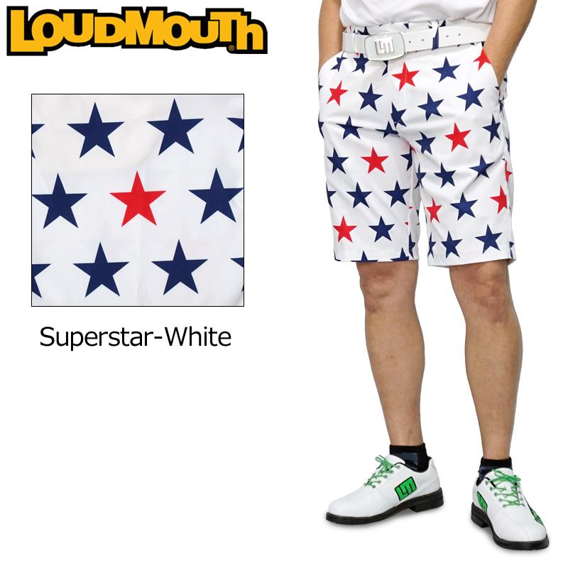 【メール便発送】ラウドマウス 2020 メンズ ショートパンツ ストレッチ UV CUT Super Star White スーパースターホワイト 760309(254) 【日本規格】【新品】20SS Loudmouth ゴルフウェア MAY1 MAY2