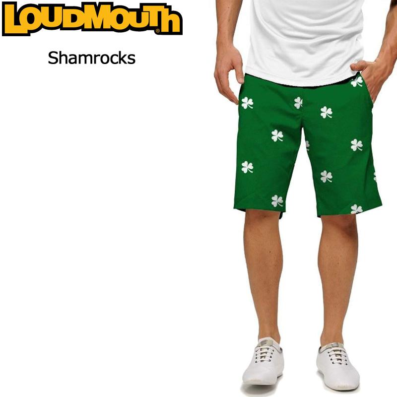 """Loudmouth Regular Short Pants """"Shamrocks""""(ラウドマウス ショートパンツ メンズ レギュラーショートパンツ """"シャムロック"""")【新品】Loudmouthゴルフウェアボトムス派手 派手な 柄 目立つ 個性的"""