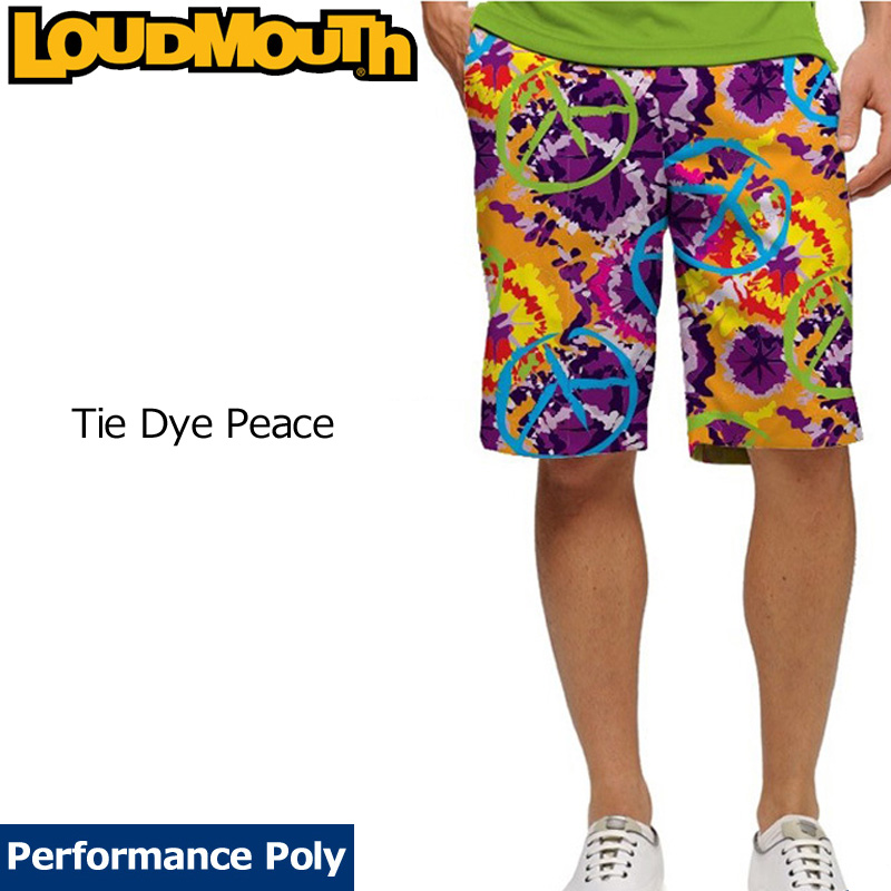 【メール便発送】ラウドマウス メンズ ショートパンツ スリムカット (Tie Dye Peace タイダイピース) 768335(106) 【インポート】【新品】18SS ゴルフウェアボトムスLoudmouth Short Pants Slim Cut 派手 派手な 柄 目立つ 個性的 %off