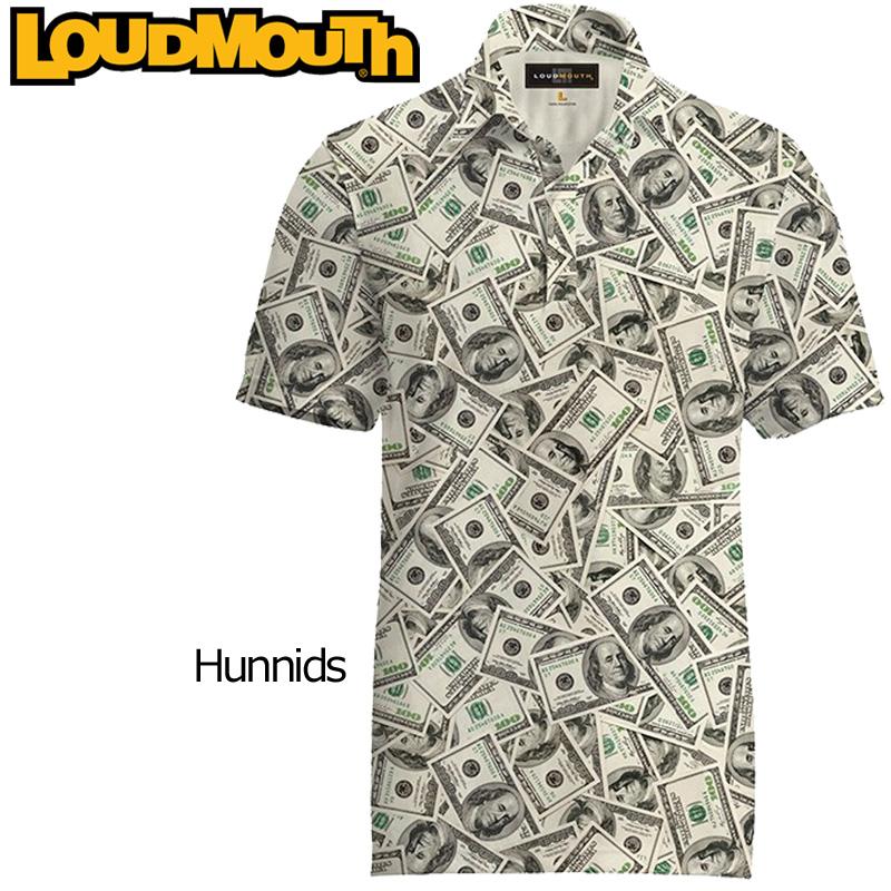 """【メール便発送】Loudmouth Fancy Shirt """"Hunnids"""" ラウドマウス 半袖 ファンシーシャツ """"ハニッズ""""【新品】 メンズ ポロシャツ ゴルフウェア トップス"""