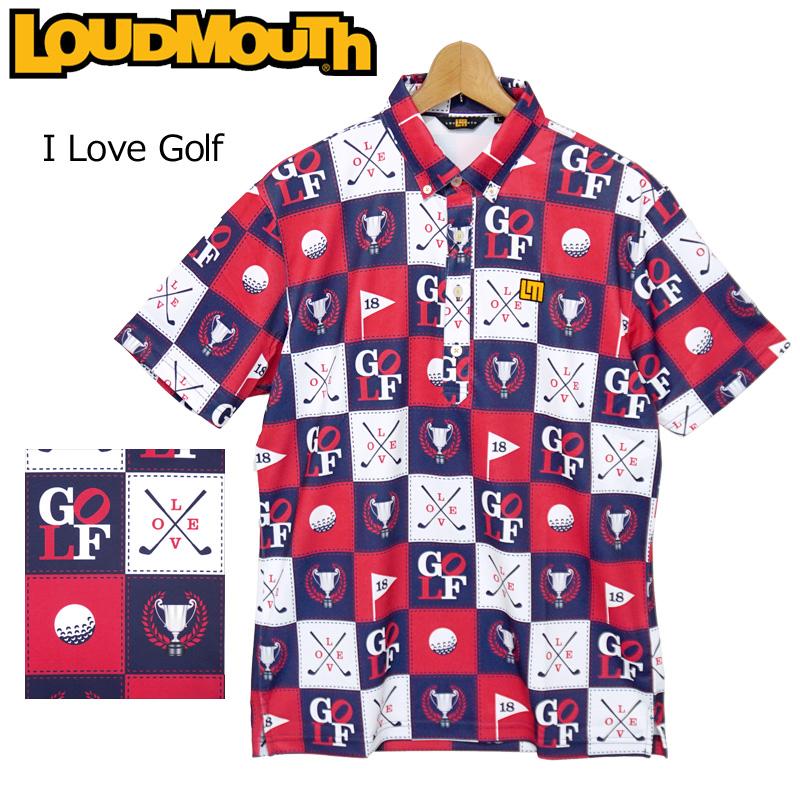 【メール便発送】ラウドマウス 2020 メンズ 半袖 ボタンダウン ポロシャツ 吸水速乾 UVカット I Love Golf アイラブゴルフ 760605(251) 春夏 【日本規格】【新品】20SS Loudmouth トップス 派手 FEB3