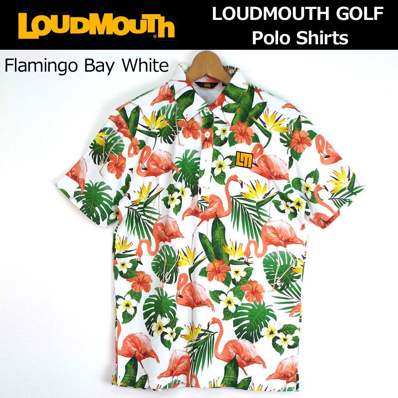 [30%off][日本規格]ラウドマウス 2018 メンズ プレミアムカノコ 半袖ポロシャツ (Flamingo Bay White フラミンゴ ベイ ホワイト) 768606(120) 春夏[新品]18SS ゴルフウェアトップスLoudmouth男性用紳士用 JUN1 JUN2