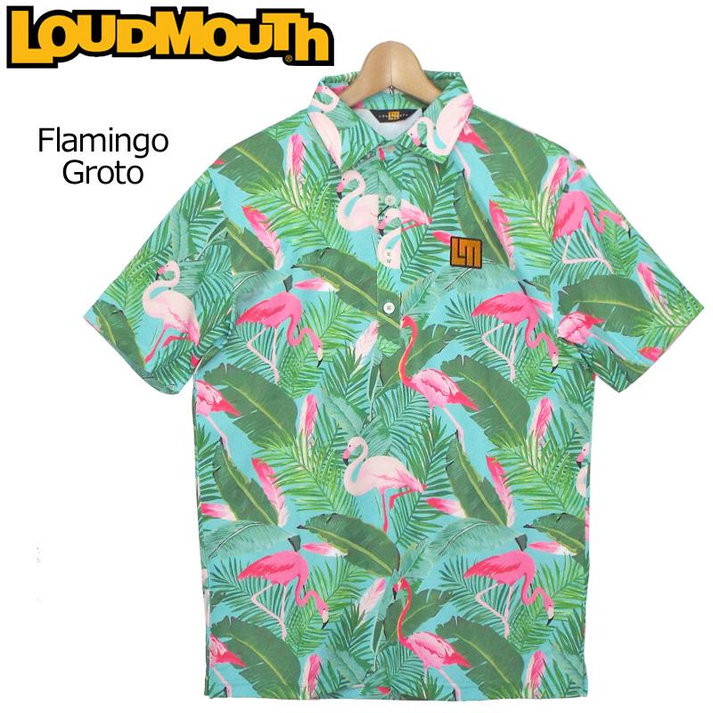 【メール便発送】ラウドマウス メンズ 半袖ポロシャツ Flamingo Grotto フラミンゴ グロット 769604(185) 春夏【日本規格】【新品】 19SS Loudmouth トップス 派手 派手な 柄 目立つ 個性的 %off