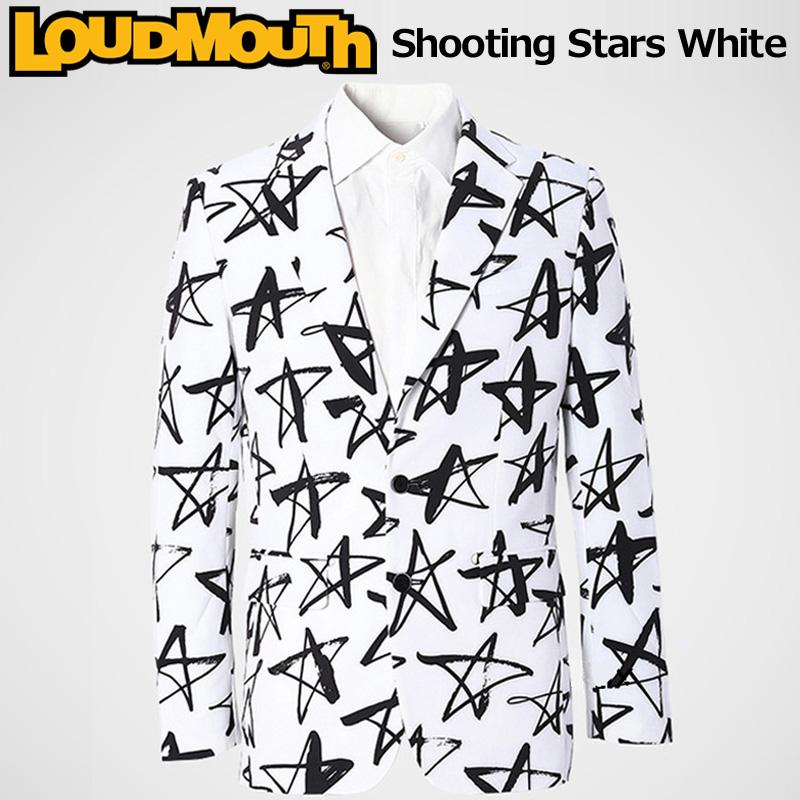 ラウドマウス メンズ ツイルジャケット Shooting Stars White シューティングスターホワイト 768100(118) ブレザー【新品】【日本規格】 18SS Loudmouth 男性 紳士 ゴルフウェア トップス アウター テーラード %off