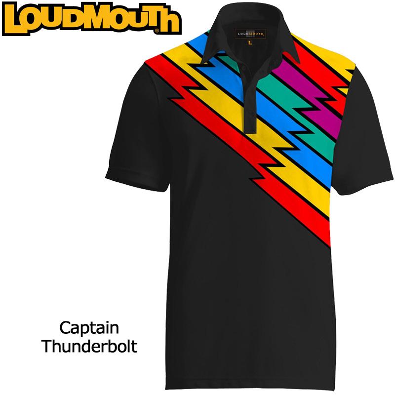 """【メール便発送】Loudmouth Fancy Shirt """"Captain Thunderbolt"""" (ラウドマウス ファンシーシャツ """"キャプテンサンダーボルト"""")メンズ 半袖 ポロシャツ【新品】ゴルフウェアトップス %off"""