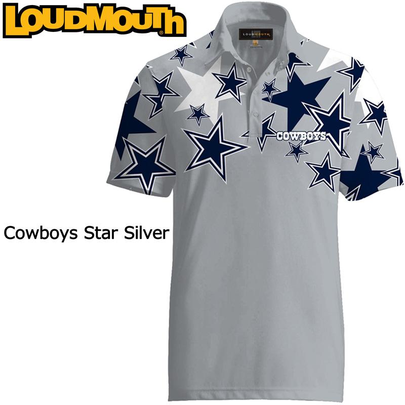 """【メール便発送】Loudmouth Fancy Shirt """"Cowboys Star Silver"""" ラウドマウス 半袖 ファンシーシャツ """"カウボーイズ スター シルバー""""【新品】 Loudmouth メンズ ポロシャツ ゴルフウェア トップス"""