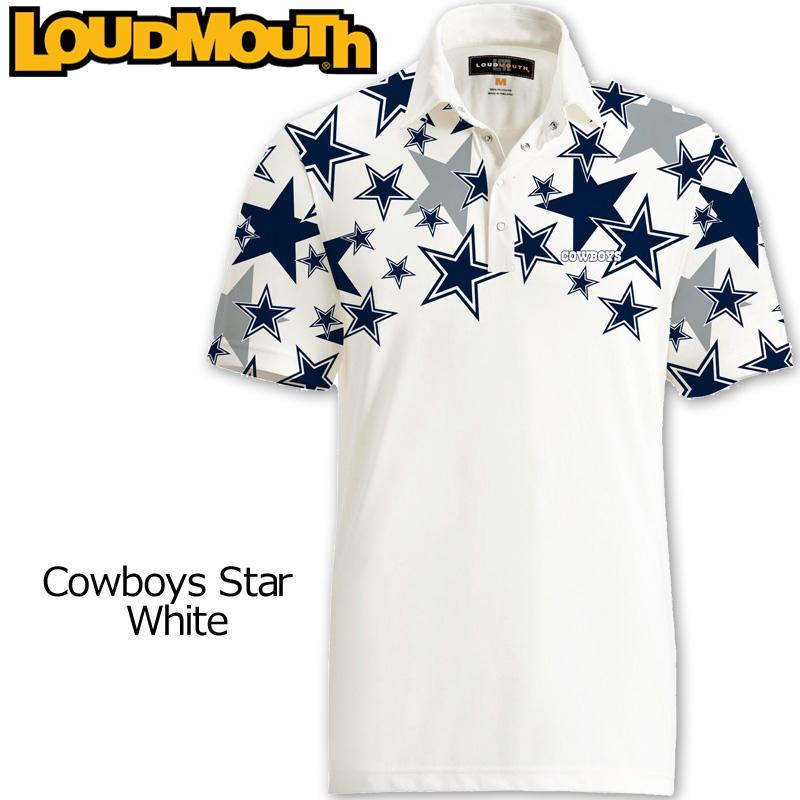 """【メール便発送】Loudmouth Fancy Shirt """"Cowboys Star White"""" ラウドマウス 半袖 ファンシーシャツ """"カウボーイズ スター ホワイト""""【新品】 Loudmouth メンズ ポロシャツ ゴルフウェア トップス"""