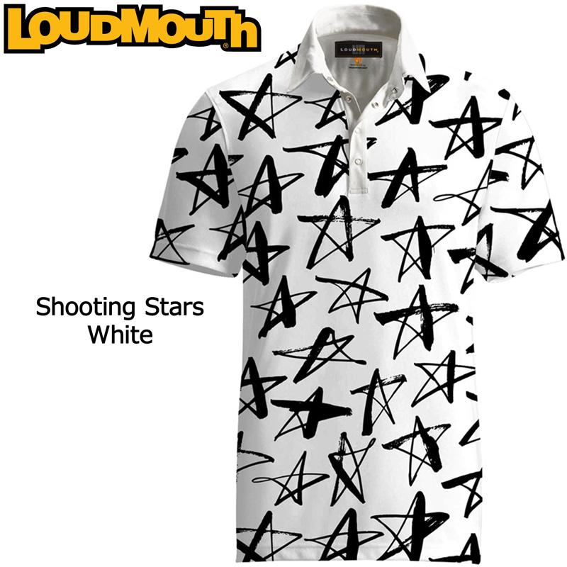 """【メール便発送】Loudmouth Fancy Shirt """"Shooting Stars White"""" ラウドマウス 半袖 ファンシーシャツ """"シューティングスター ホワイト""""【新品】 Loudmouth メンズ ポロシャツ ゴルフウェア トップス %off"""