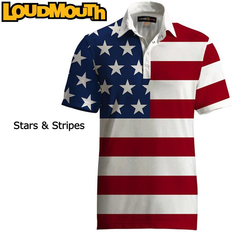 """【メール便発送】Loudmouth Fancy Shirt """"Stars & Stripes"""" (ラウドマウス ファンシーシャツ """"スターズ&ストライプス"""")メンズ 半袖 ポロシャツ【新品】Loudmouthゴルフウェアトップス"""