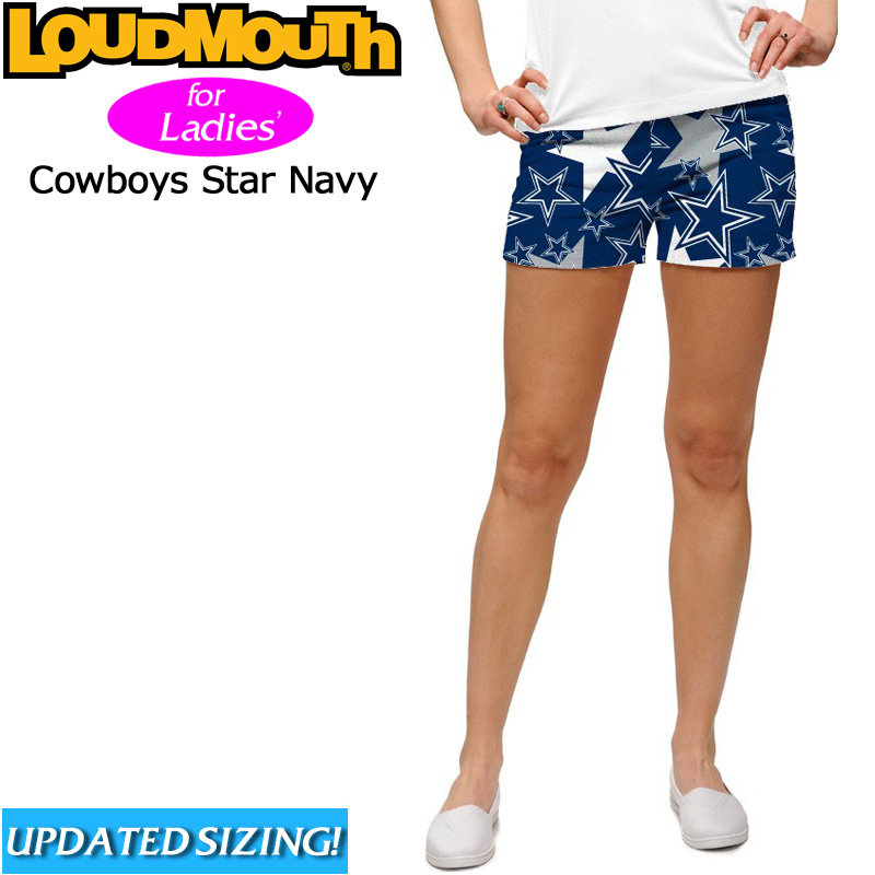【メール便発送】レディース ラウドマウス ホットパンツ/ミニパンツ Cowboys Star Navy(カウボーイズ スター ネイビー) 【新品】 Loudmouth ゴルフウェア ボトムス Mini Shorts 派手 派手な 柄 目立つ 個性的 %off