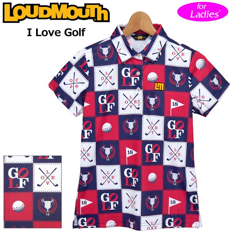 【メール便発送】ラウドマウス 2020 レディース 半袖 ポロシャツ 吸水速乾 UVカット I Love Golf アイラブゴルフ 760656(251) 【日本規格】【新品】20SS Loudmouth ゴルフウェア FEB3 MAR1