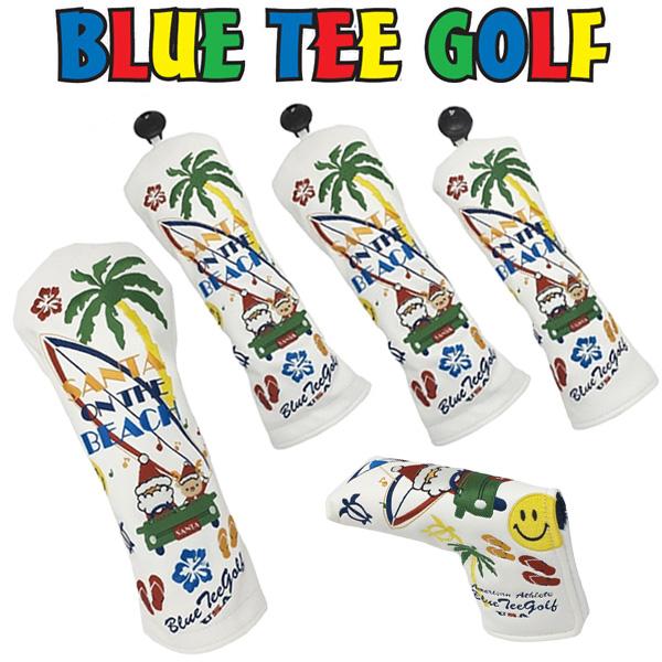 ブルーティーゴルフ サンタオンザビーチ ヘッドカバー 5点セット(DR用×1/FW用×2/UT用×1/PT用ピン型×1)【新品】Blue TeeGolfゴルフドライバー用フェアウェイウッド用ユーティリティ用パターカバーパター用ブレード型クリスマスプレゼントギフト
