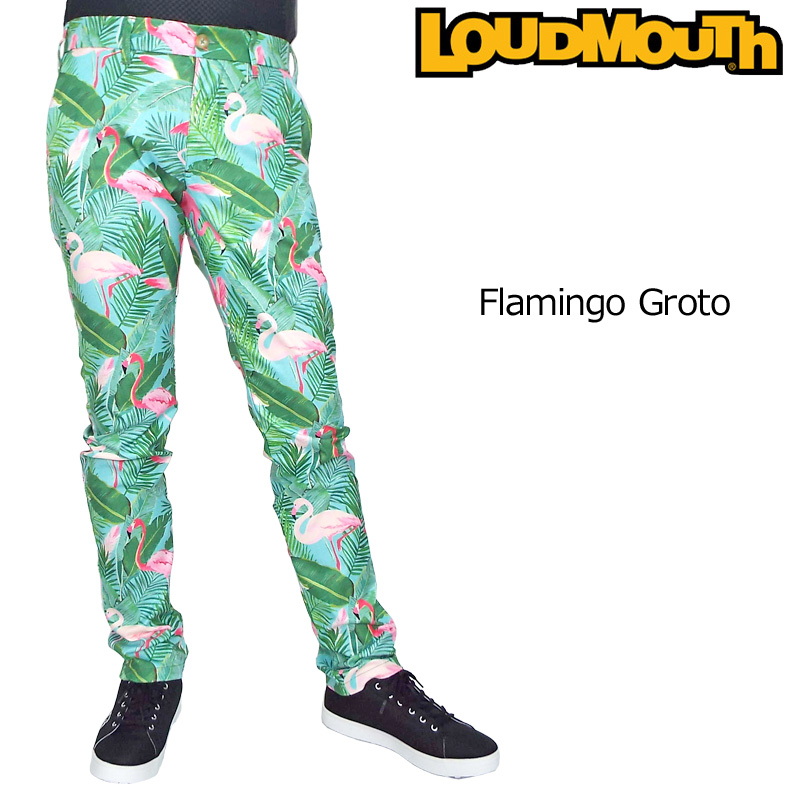 【30%off】【日本規格】ラウドマウス 2019 メンズ ロングパンツ Flamingo Grotto フラミンゴ グロット 769312(185) 【新品】19SS Loudmouth ゴルフウェア ボトムス 派手 派手な 柄 目立つ 個性的