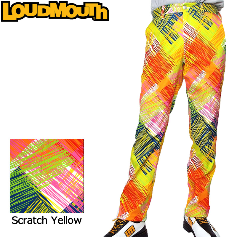 【30%off】【日本規格】ラウドマウス メンズ ロングパンツ (スクラッチ イエロー Scratch Yellow) 778301(156) 【新品】18FW Loudmouth ゴルフウェア男性用紳士用 ボトムス 派手 派手な 柄 目立つ 個性的