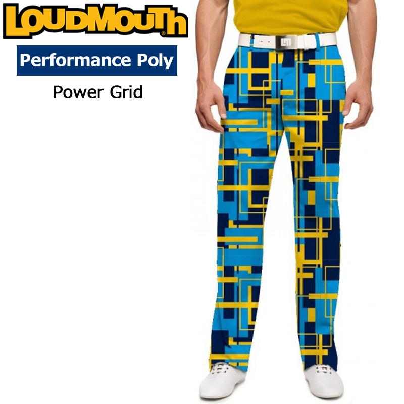 【30%off】【インポート】ラウドマウス メンズ ロングパンツ スリムカット (Power Grid パワーグリッド) 778329(171)【新品】18FW ゴルフウェアボトムス Loudmouth Pants Slim Cut 派手 派手な 柄 目立つ 個性的