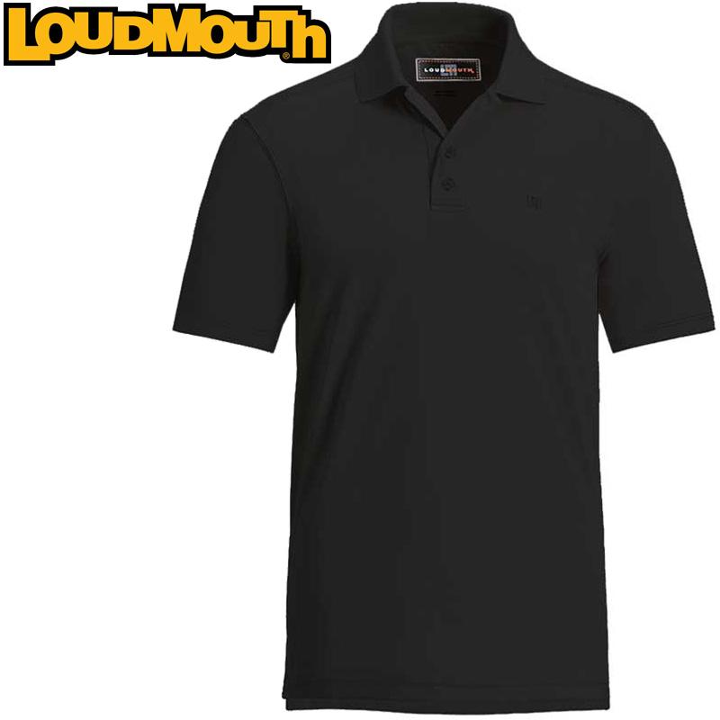 【メール便発送OK】Loudmouth Essential Shirt (ラウドマウス エッセンシャルシャツ ジェットブラック) メンズ 半袖 ポロシャツ 春夏秋【新品】Loudmouth ゴルフウェアトップス ワンポイント Jet Black