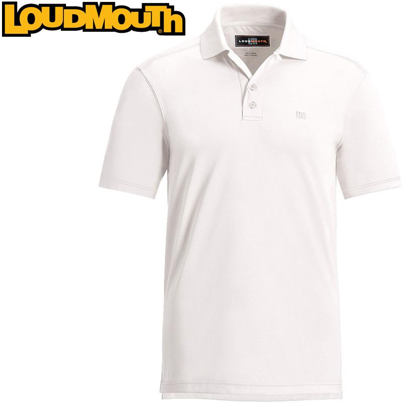 【メール便可250円】Loudmouth Essential Shirt (ラウドマウス エッセンシャルシャツ スターク・ホワイト)メンズ 半袖 ポロシャツ 春夏【新品】Loudmouthゴルフウェアトップス ワンポイント Stark White