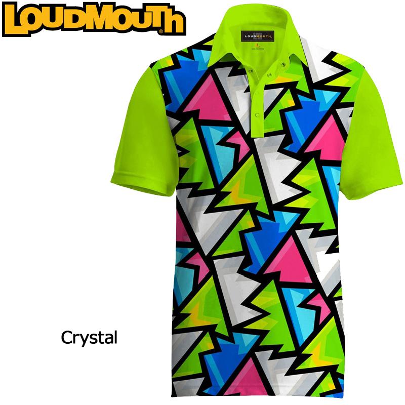 """【メール便可250円】Loudmouth Fancy Shirt """"Broken Grass(Crystal)"""" ラウドマウス 半袖 ファンシーシャツ """"ブロークングラス(クリスタル)"""" 【新品】 Loudmouth メンズ ポロシャツ ゴルフウェア トップス"""